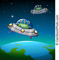 Spaceships with aliens - Illustration of a spaceships with...