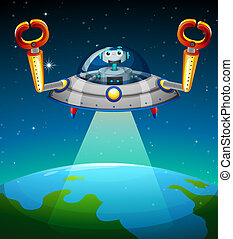 A robot inside the spaceship - Illustration of a robot...