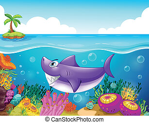 A smiling shark under the sea with corals