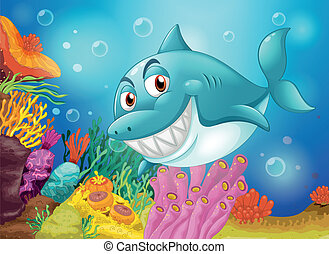 A big fish near the coral reefs - Illustration of a big fish...