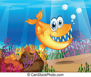 An orange fish near the coral reefs - Illustration of an...