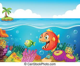 A sea with colorful coral reefs and fishes - Illustration of...