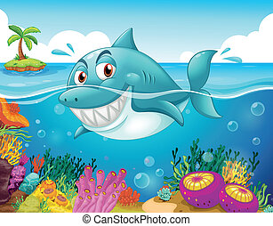 A shark in the sea with corals - Illustration of a shark in...