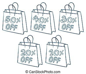 Paper bags with discounts - Illustration of the paper bags...
