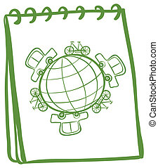 A notebook with a green doodle design - Illustration of a...