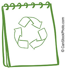 A green notebook with the symbols for recycling -...