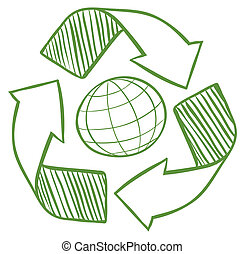 A globe surrounded by recycling signs - Illustration of a...