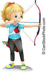 A girl with a bow and arrow - Illustration of a girl with a...