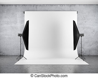 Blank backdrop and two softboxes