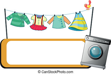 Illustration of a  washing machine with an empty signage and hanging clothes at the back on a white background
