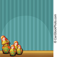 A blue wall with four Russian dolls - Illustration of a blue...