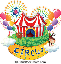 A carnival with a circus signboard