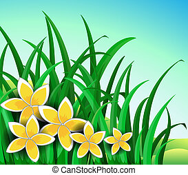 A garden with big yellow flowers - Illustration of a garden...