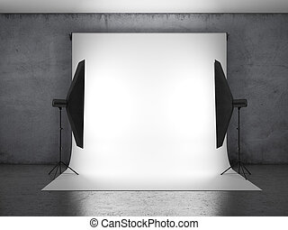Dark photo studio with lighting equipment. 3d render