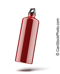 Red water bottle isolated on a white background