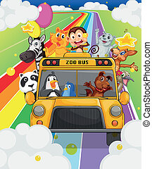 A zoo bus full of animals - Illustration of a zoo bus full...