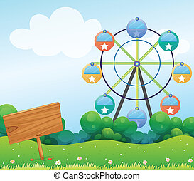 A wooden signboard with a ferris wheel at the back -...