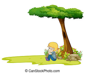 A girl sitting under the big tree - Illustration of a girl...