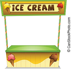 An ice cream stand - Illustration of an ice cream stand on a...