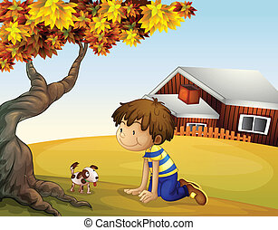 A boy and his puppy under the tree - Illustration of a boy...