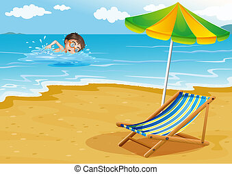 A boy swimming at the beach with an umbrella and a bed -...