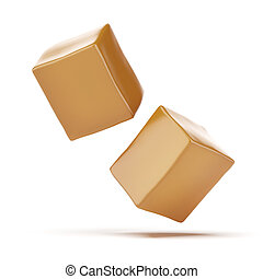 Caramel boxes isolated on a white background