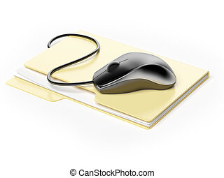 Computer mouse on folder isolated on a white background