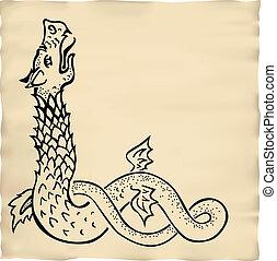 ink drawn dragon vignette
