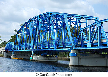 Blue bridge on Florida border - Blue bridge connects Florida...