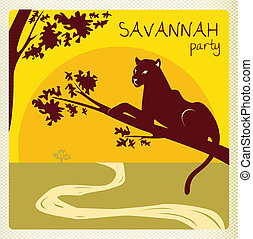 club party invitation flyer card in africa style with panther