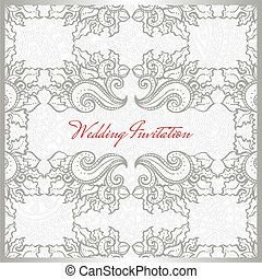 Invitation card floral template