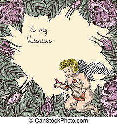 valentine card with cupid, bird and roses