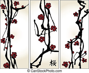 set of spring cherry blossom vertical banners with...