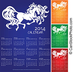 Calendar 2014, year of horse, recolors