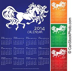 Calendar 2014, year of horse, recolors