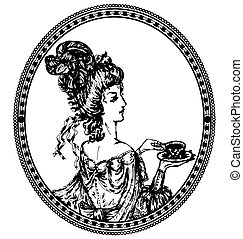 medallion, vintage lady with tea