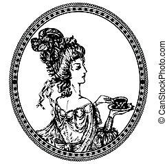 medallion, vintage lady with tea