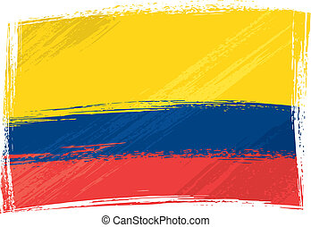 Grunge Colombia flag - Colombia national flag created in...