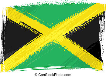 Grunge Jamaica flag - Jamaica national flag created in...