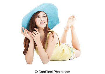 smiling summer young woman lying on the floor
