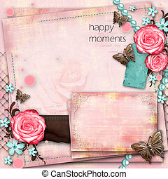 greeting card with flowers, butterfly on pink paper vintage...