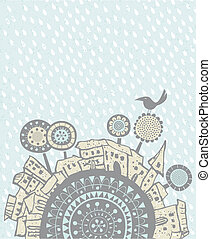 Rain falling over a city - Decorative illustration with...