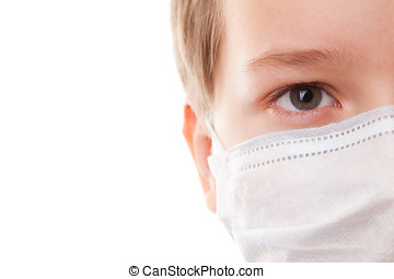 Teenager boy in surgical mask - portrait teenager boy on a...