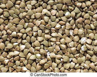 buckwheat grains - close up of buckwheat grains food...