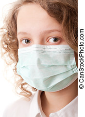 Teenager boy in surgical mask - portrait teenager girl on a...