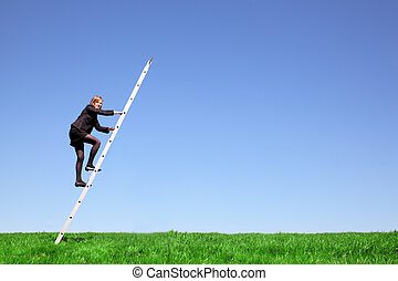 Climbing - Young businesswoman climbs a ladder on green...