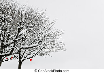 Winter Trees With Red Balls Under The Snow