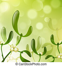Mistletoe Over Bright Green Background