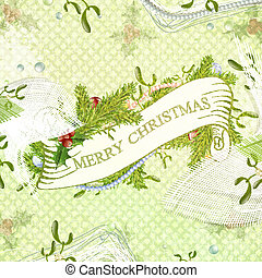 Merry Christmas - Vintage Christmas Scrapbooking Greeting...