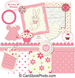 Scrapbook set for baby girl - Set of design elements for...